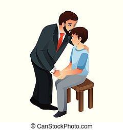 Padre besando a su hijo ilustración