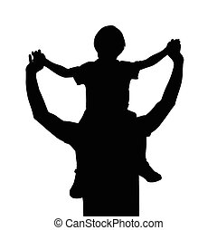 Padre con un niño sobre los hombros