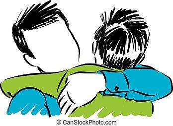 Padre e hijo abrazando ilustraciones vectoriales