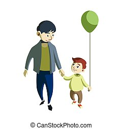 Padre e hijo caminando diseño de ilustración