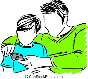 Padre e hijo con ilustración de vectores de celular