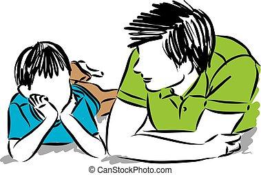 Padre e hijo ilustración vectorial