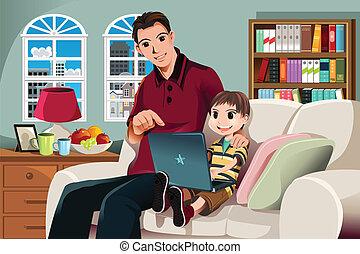 Padre e hijo usando computadora