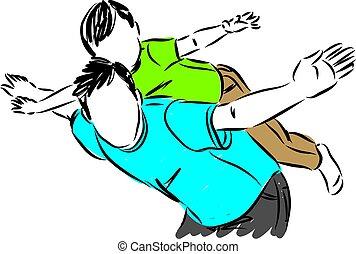 Padre e hijo volando ilustración conceptual