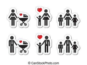 padre, familia , iconos, -, señal, solo