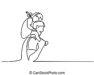 Padre feliz con una hija en hombros