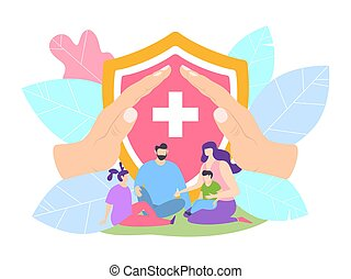 padre, hospital., protección, clínica, concepto, protegido, familia , vector, niños, illustration., seguro de vida, salud