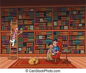 Padre leyendo un libro a su hijo en una gran biblioteca.