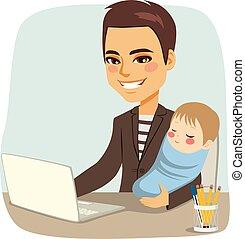 Padre trabajando con el bebé