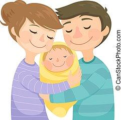 Padres abrazando a un bebé