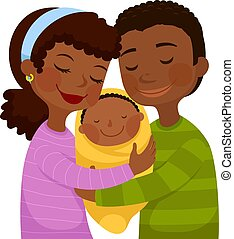 Padres de piel oscura con un bebé