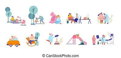 padres, visitar, macho, caracteres, playground., doctor, juego, aparejar, niño, conjunto, hembra, niños, mujeres, nacimiento