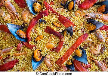 paella, español