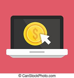 paga, computador portatil, por, vector, clic, icono