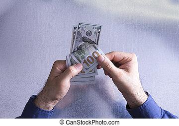 pagar, contar, dólar, 100, cuentas, o, hombre