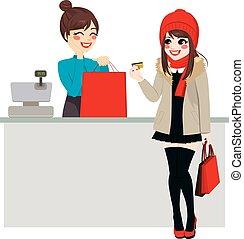 pagar, credito, mujer, tarjeta