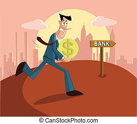 pagar, préstamo, banco, hombre