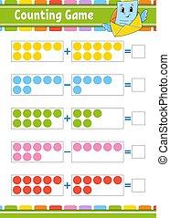page., caricatura, illustration., style., actividad, educación, children., vector, subtraction., revelado, worksheet., tarea, color aislado, character., divertido, adición, kids., juego