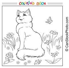 page., colorido, sentarse, pasto o césped, gato, libro, flores, o, butterfly.