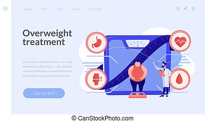 page., obesidad, aterrizaje, concepto, problema, salud