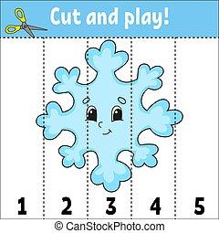 page., preschool., adivinanza, rompecabezas, caricatura, aprendizaje, illustration., style., actividad, educación, children., numbers., vector, revelado, worksheet., corte, aislado, lindo, kids., play., juego, plano