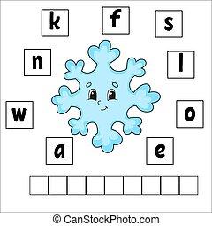 page., preschool., adivinanza, rompecabezas, simple, caricatura, aprendizaje, style., actividad, educación, children., puzzle., vector, revelado, palabras, worksheet., aislado, lindo, kids., juego, ilustración, plano