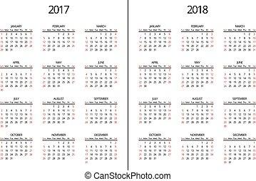 page., simple, mensualmente, vector, 2018, año, 2017, calendario