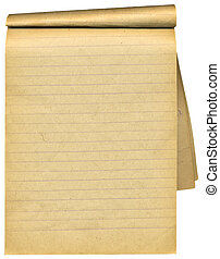 pages., viejo, encima, blanco, cuaderno, andrajoso, blanco