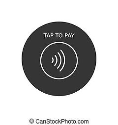 pago, concepto, contactless, icon., -, golpecito, paga, vector