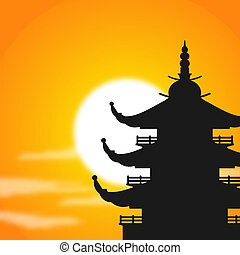 pagoda, silueta, anochecer
