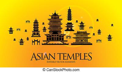 pagoda, templo, asiático, edificio