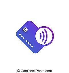 pagos, contactless, icono, paga, tarjeta, golpecito