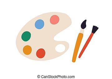 painter's, herramientas, ilustración, vector, aislado, plano, diferente, mano, pinturas, colores, vista, cepillos, paleta, dibujado, cima, artist's, paintbrushes., blanco, o, fondo.