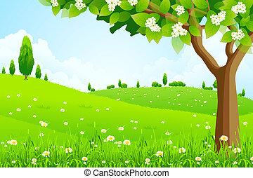 paisaje, árbol, verde