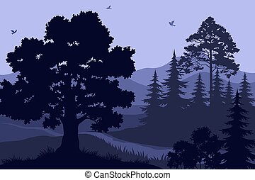 Paisaje, árboles, montañas y pájaros