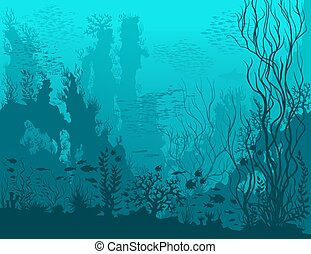 Paisaje azul bajo el agua