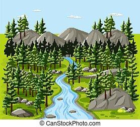 paisaje, bosque, escena de la naturaleza