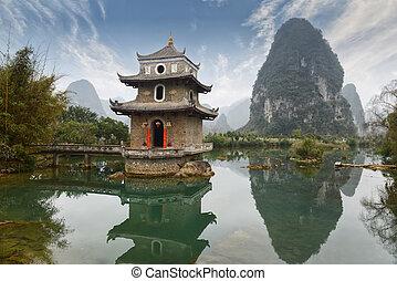 paisaje, china, guilin, yangshuo