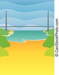paisaje, cielo amarillo, puente, vector, azul, suspensión, arbustos, riverbank, plano de fondo, ondas, río, sides., verde, encima