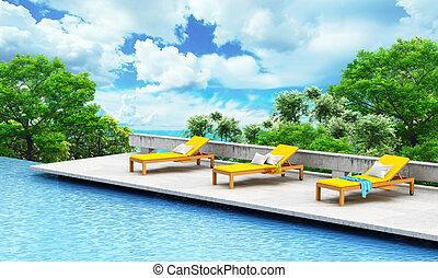 paisaje, concept., fondo., árbol, loungers, abierto, piscina, natación, vacaciones, ilustración, 3d