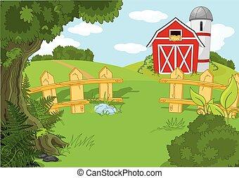 Paisaje de granja idílico