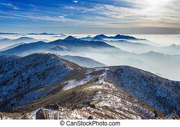 Paisaje de invierno y niebla en las montañas de Deogyusan, sur de Corea.