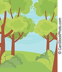 paisaje de la naturaleza, verdor, arbustos, árboles, cielo, pasto o césped
