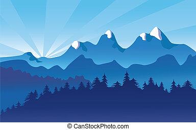 paisaje de montaña, nieve, alpino