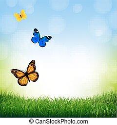 Paisaje de primavera con mariposa