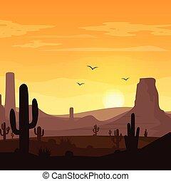 Paisaje desierto con cactus en el fondo del atardecer