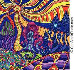 paisaje., fantástico, surreal, garabato, colorido, gráfico, psicodélico