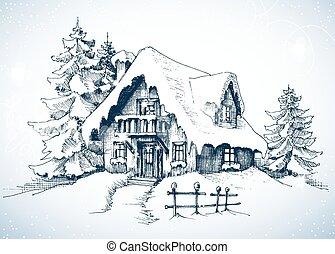Paisaje idílico de invierno, pinos y casa en la nieve