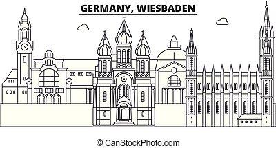 paisaje., illustration., cityscape, señales, vistas, vector, famoso, línea, alemania, contorno, wiesbaden, ciudad, lineal
