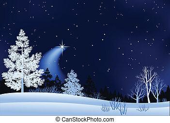 paisaje, invierno, ilustración